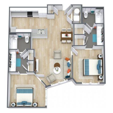 two bedroom floorplans